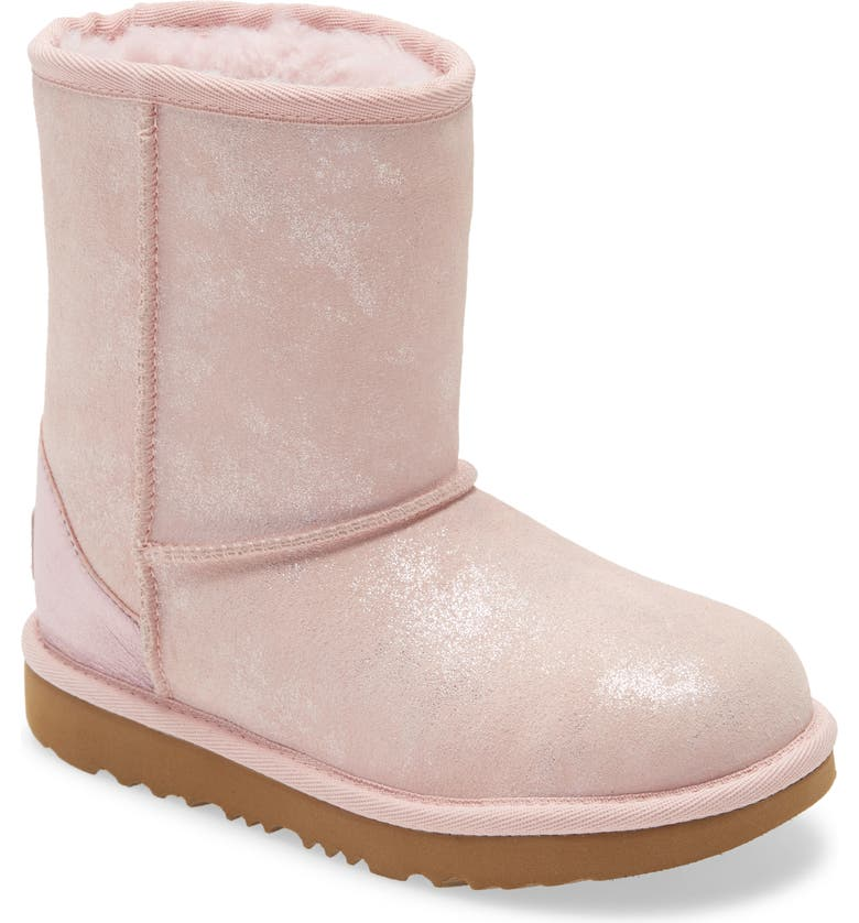 UGG<SUP>®</SUP> Classic II Shimmer Metallic Bootie, Main, color, Pink