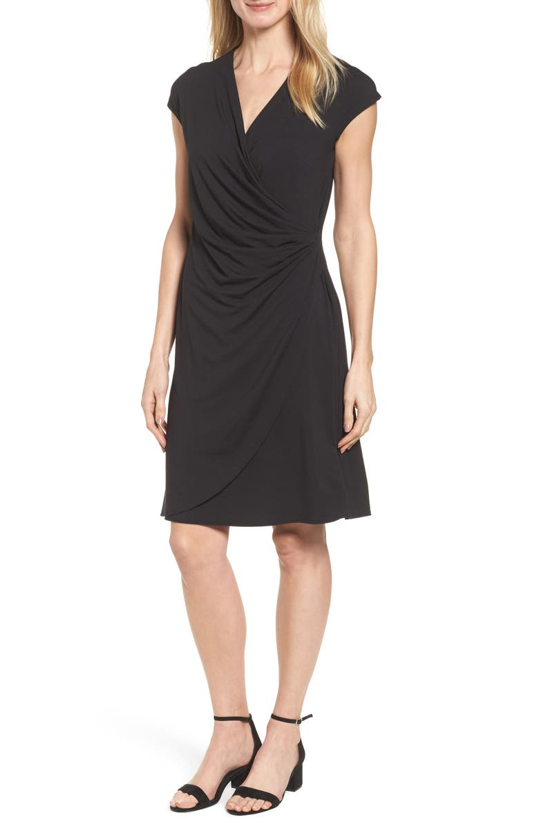 TOMMY BAHAMA Tambour Side Gathered Jersey Dress, Main, color, Black