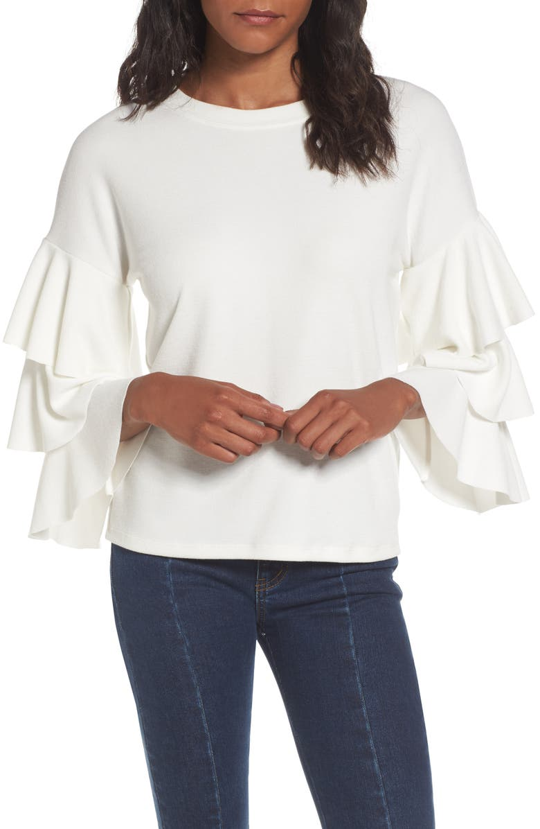 LEITH Tiered Ruffle Sleeve Tee, Main, color, 900