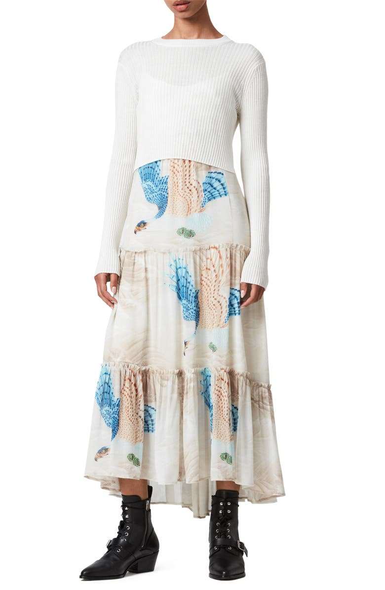 ALLSAINTS Tilly Two-in-One Long Sleeve Sweater Maxi Dress, Main, color, 124