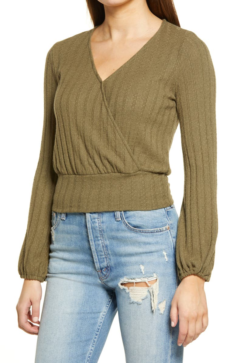 ALL IN FAVOR Pointelle Faux Wrap Long Sleeve Top, Main, color, 332