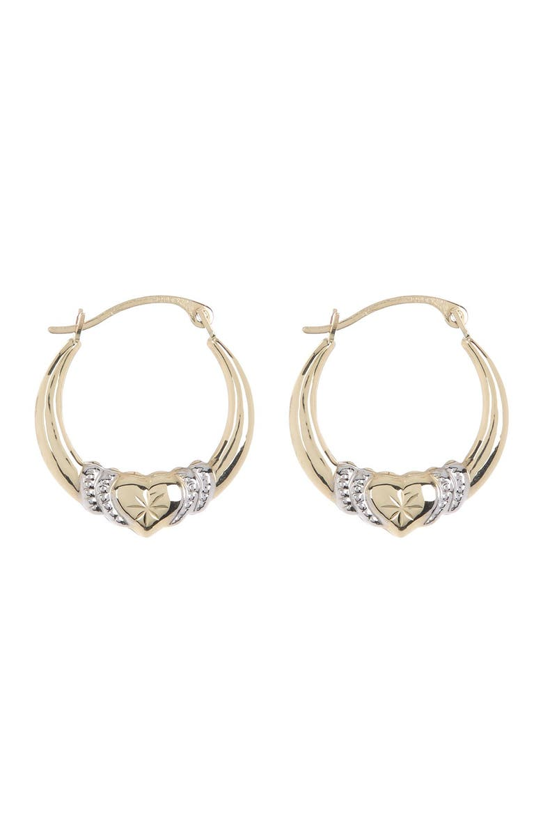 CANDELA JEWELRY Two-Tone 10K Gold Captured Heart Hoop Earrings, Main, color, GOLD