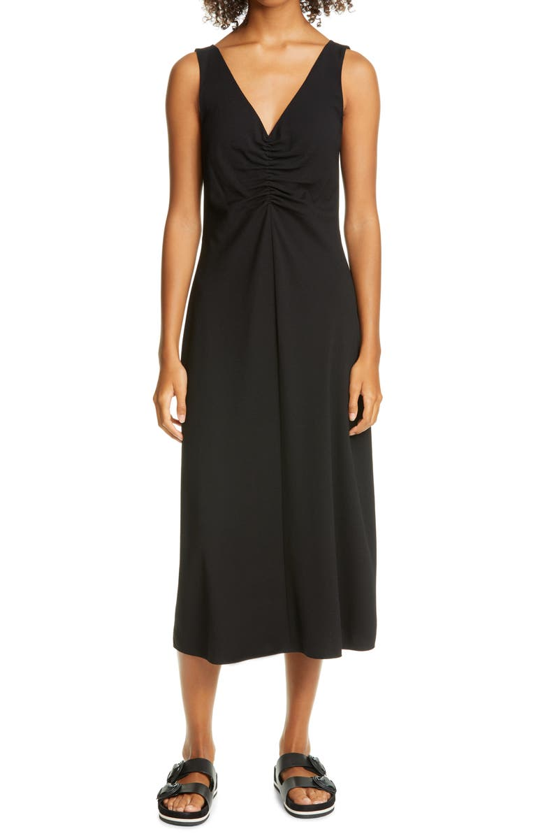 VINCE Ruched Neck Sleeveless Dress, Main, color, BLACK