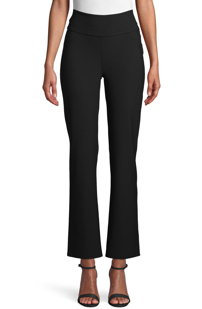 ANNE KLEIN Flare Ankle Crepe Pants, Main, color, 001