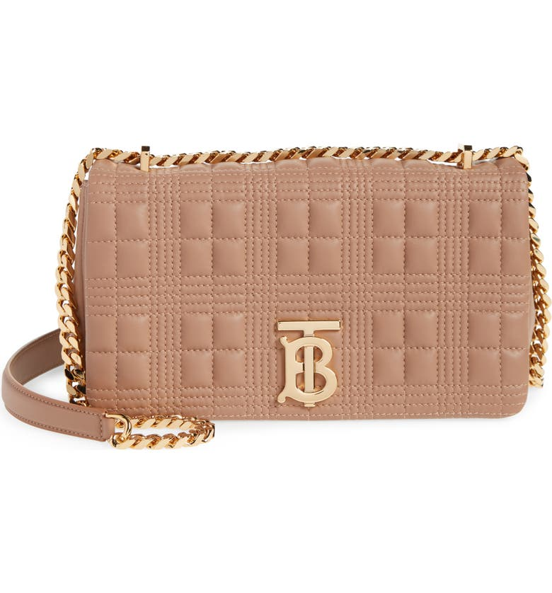 BURBERRY Small Lola Quilted Lambskin Bag, Main, color, SOFT CAMEL