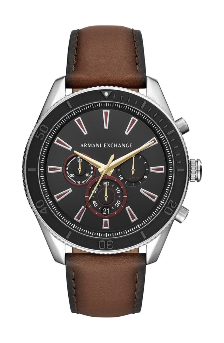 A I X ARMANI EXCHANGE Men's Enzo Leather Strap Watch, 46mm, Main, color, BROWN