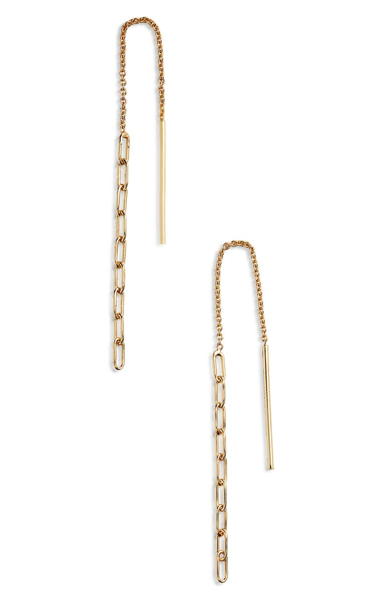 ARGENTO VIVO STERLING SILVER Paper Clip Chain Threader Earrings, Main, color, GOLD