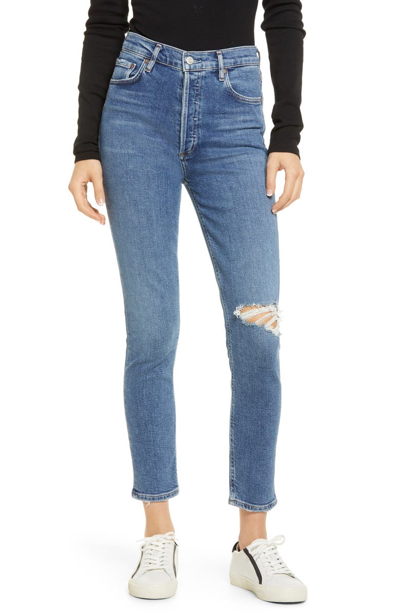 AGOLDE Nico Distressed High Waist Skinny Ankle Jeans, Main, color, SHORELINE