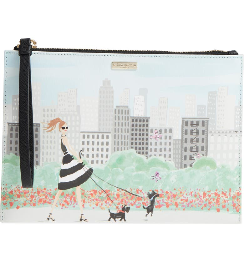 KATE SPADE NEW YORK mom knows best - medium bella print pouch, Main, color, MULTI