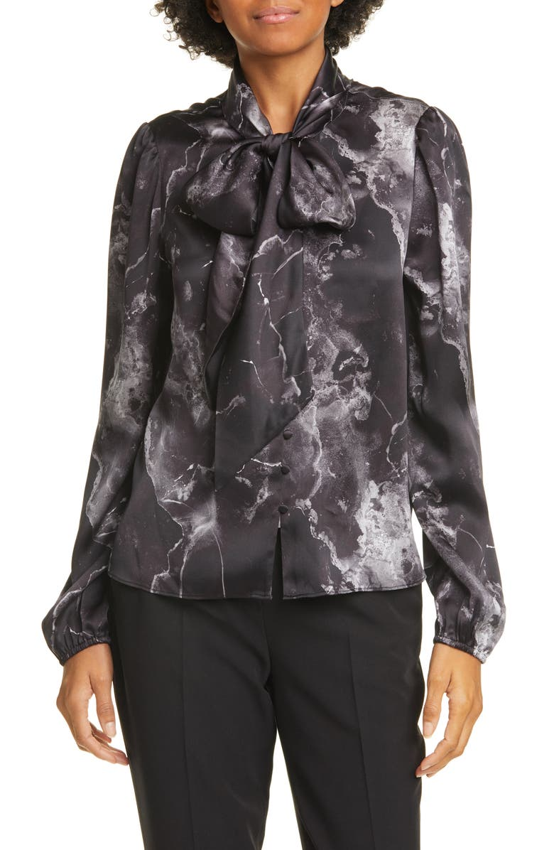 CAMI NYC The Ellery Tie Neck Silk Charmeuse Blouse, Main, color, 002