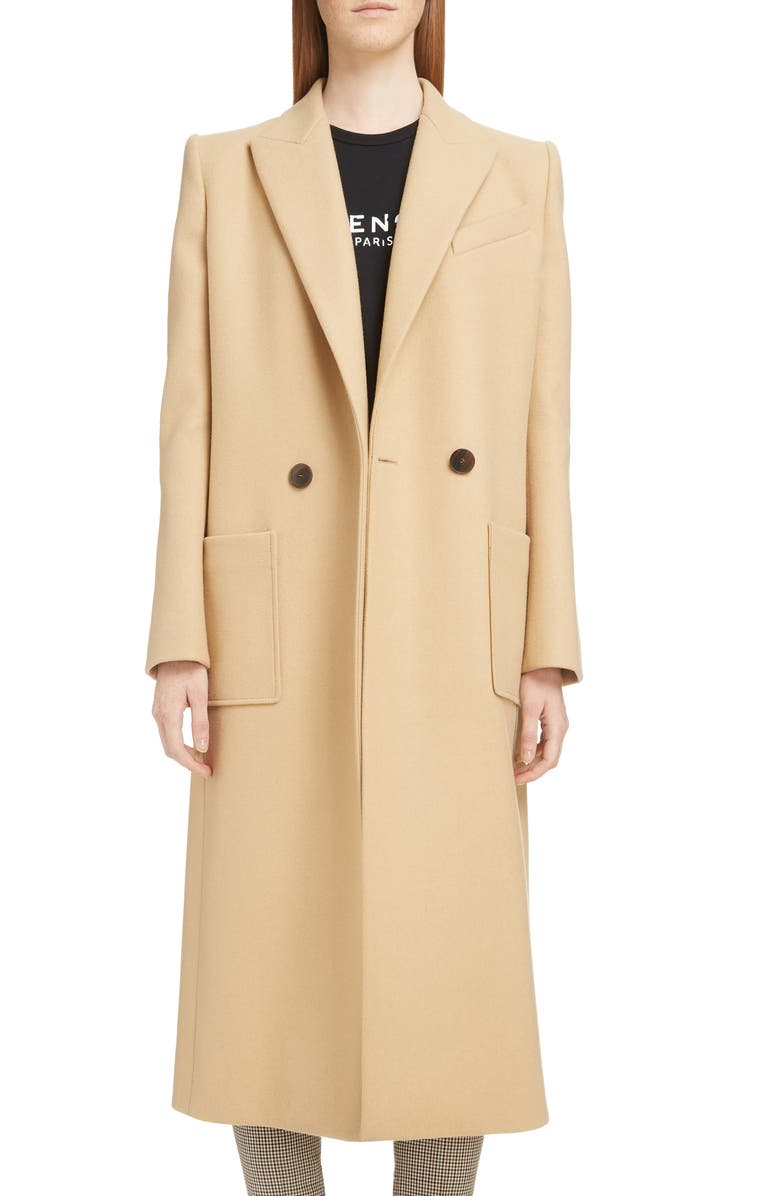 GIVENCHY Double Breasted Wool Coat, Main, color, 250-BEIGE