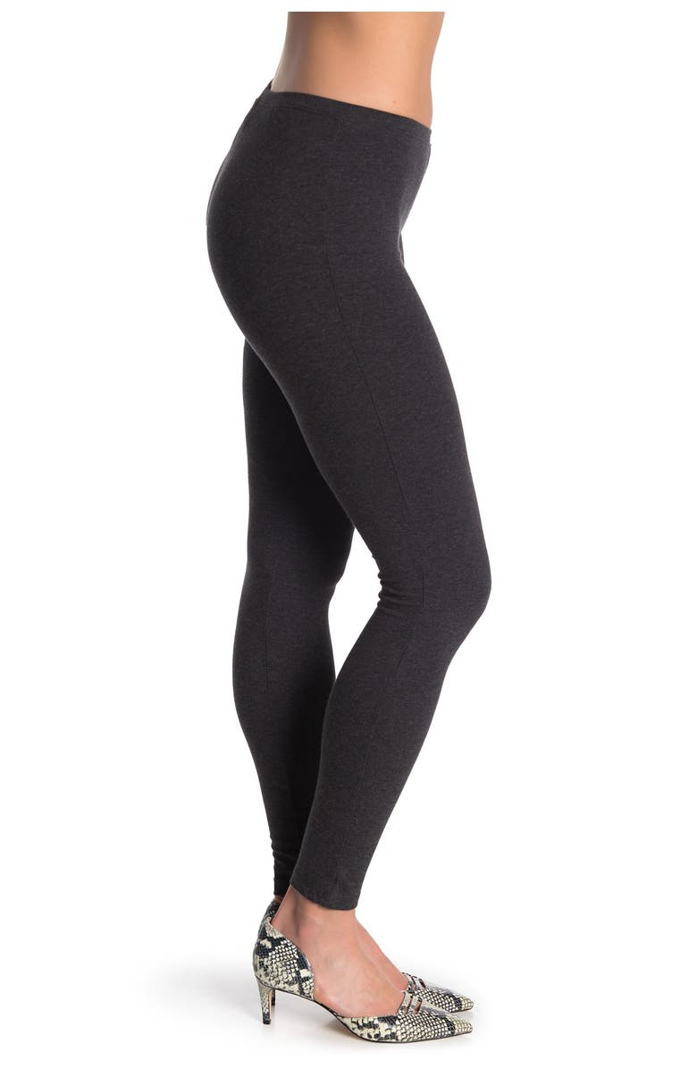 HUE Knit Fitted Leggings, Main, color, GRA HEA