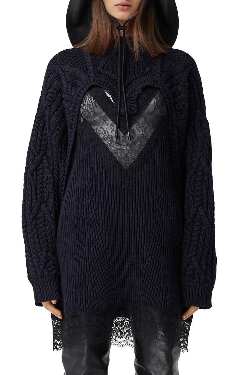 BURBERRY Cable Lace Reconstructed Sweater, Main, color, INK BLUE