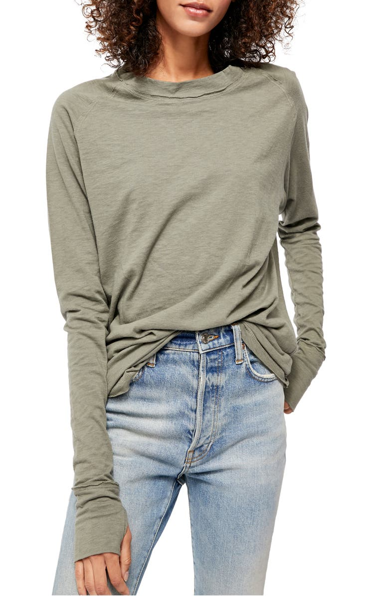FREE PEOPLE Arden Extra Long Cotton Top, Main, color, ARMY