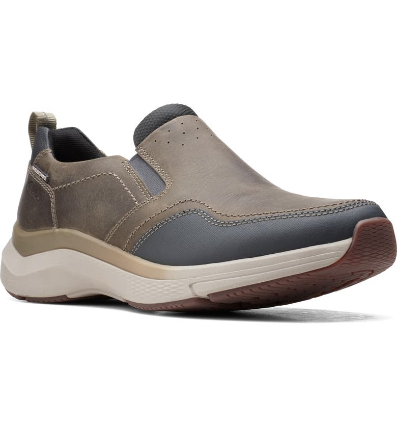 CLARKS<SUP>®</SUP> Wave 2.0 Waterproof Slip-On Sneaker, Main, color, SAGE OILY TUMBLED LEATHER