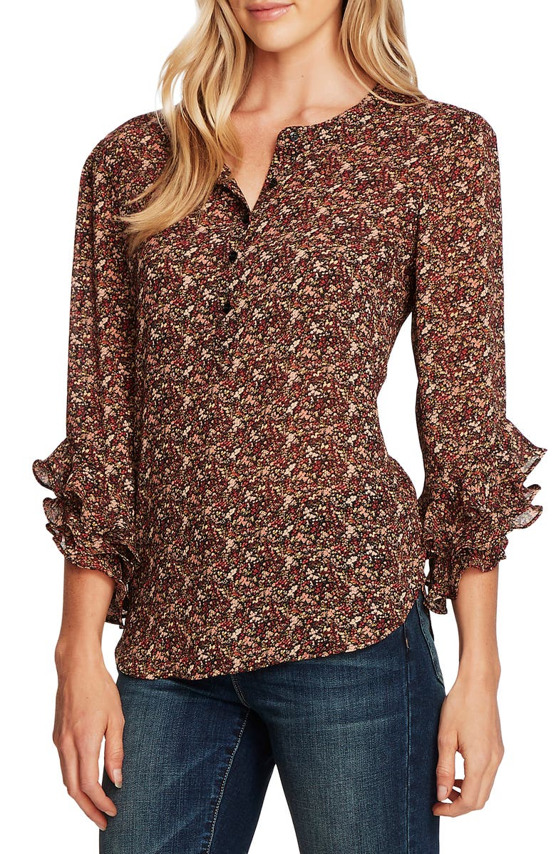 VINCE CAMUTO Ditsy Fields Long Sleeve Blouse, Main, color, 001