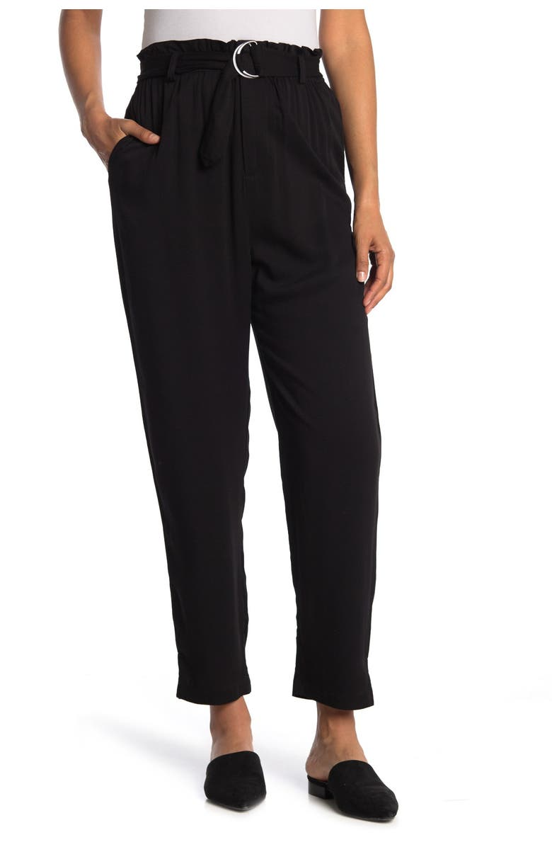 ABOUND Belted Ruffled Paperbag Pants, Main, color, BLACK