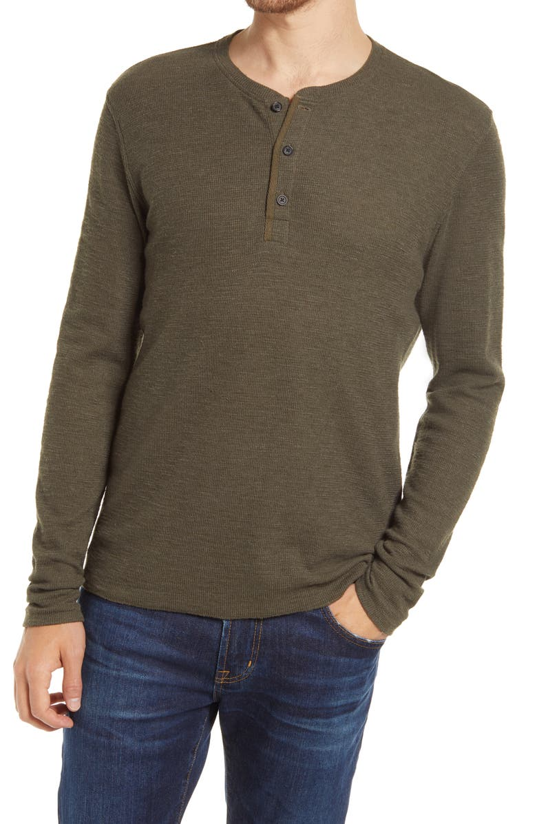 BILLY REID Thermal Knit Cotton Blend Henley, Main, color, OLIVE