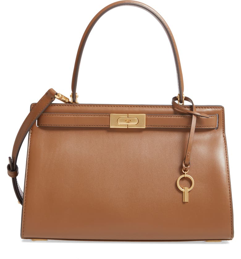 TORY BURCH Small Lee Radziwill Leather Bag, Main, color, MOOSE
