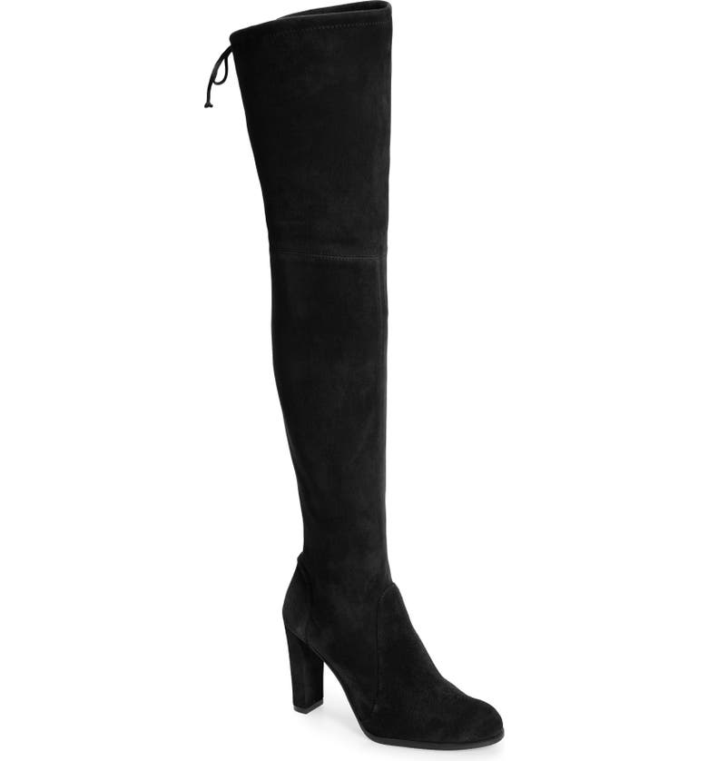 STUART WEITZMAN Highland Over The Knee Boot, Main, color, BLACK SUEDE