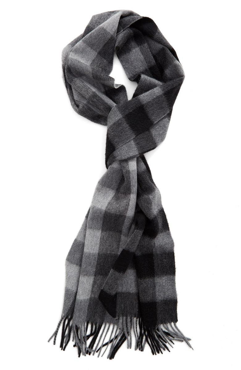 NORDSTROM 'Blocked Checks' Cashmere Scarf, Main, color, 020