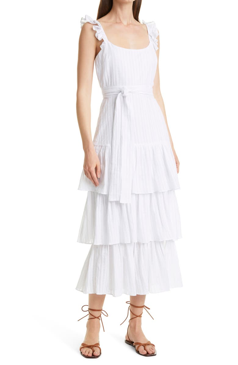 LIKELY Tie Waist Maxi Dress, Main, color, WHITE