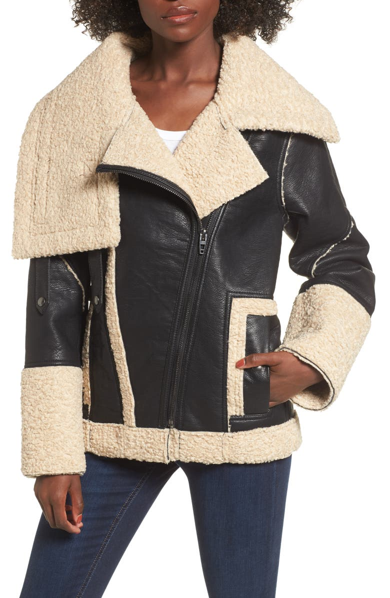 BLANKNYC Faux Shearling & Faux Leather Jacket, Main, color, 005