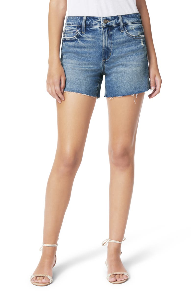 JOE'S The Ozzie Distressed Cutoff Denim Shorts, Main, color, CLEMATIS