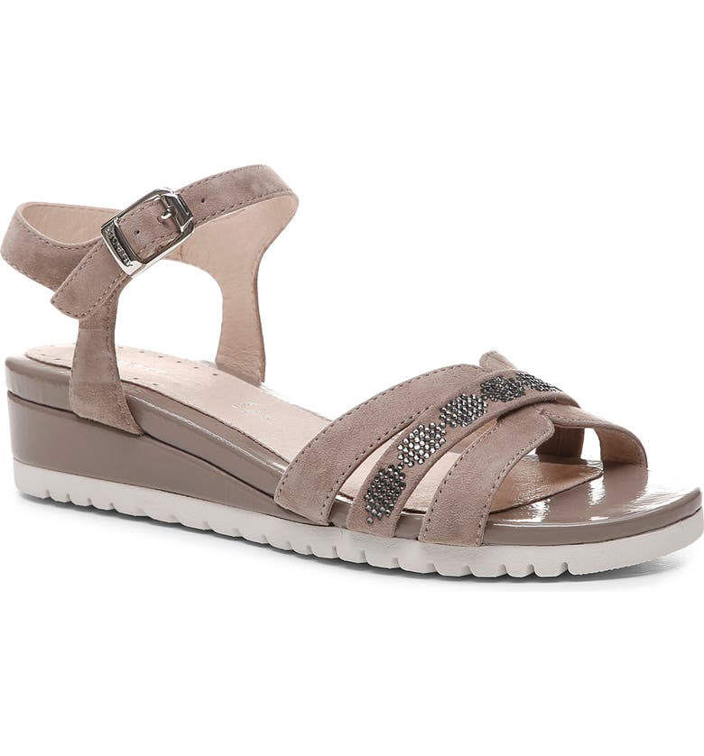 STONEFLY Cher Wedge Sandal, Main, color, TAUPE BROWN