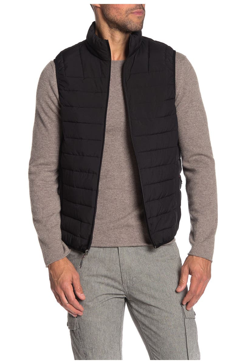 HAWKE AND CO Solid Stretch Puffer Vest, Main, color, BLACK