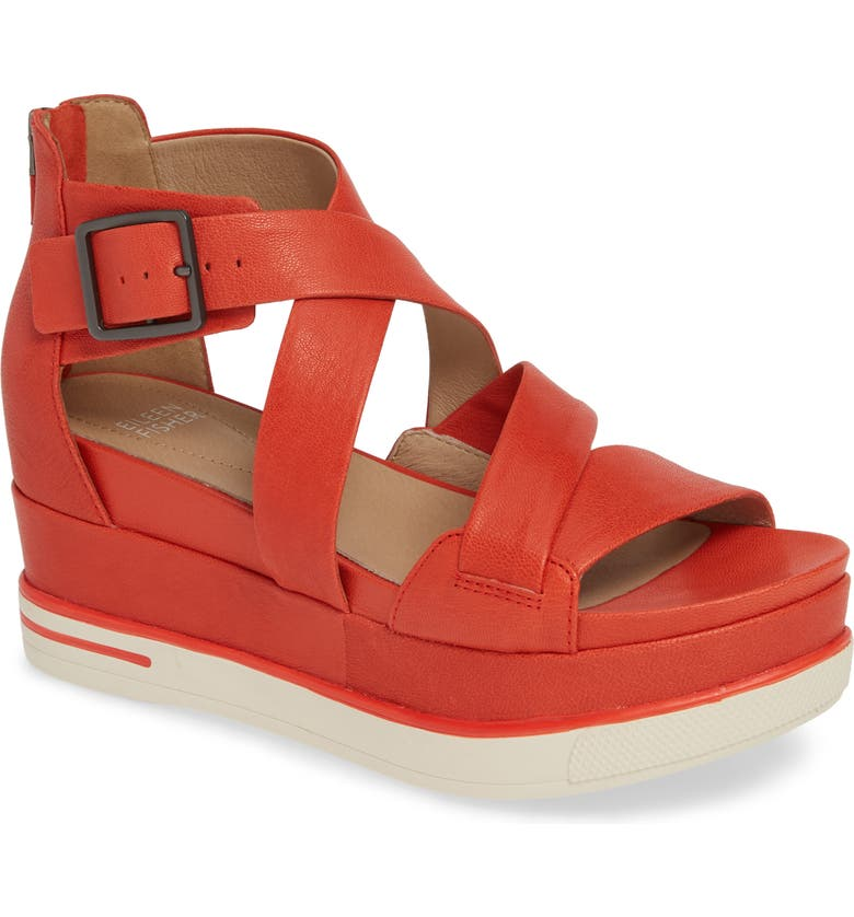 EILEEN FISHER Boost Wedge Sandal, Main, color, PAPRIKA LEATHER