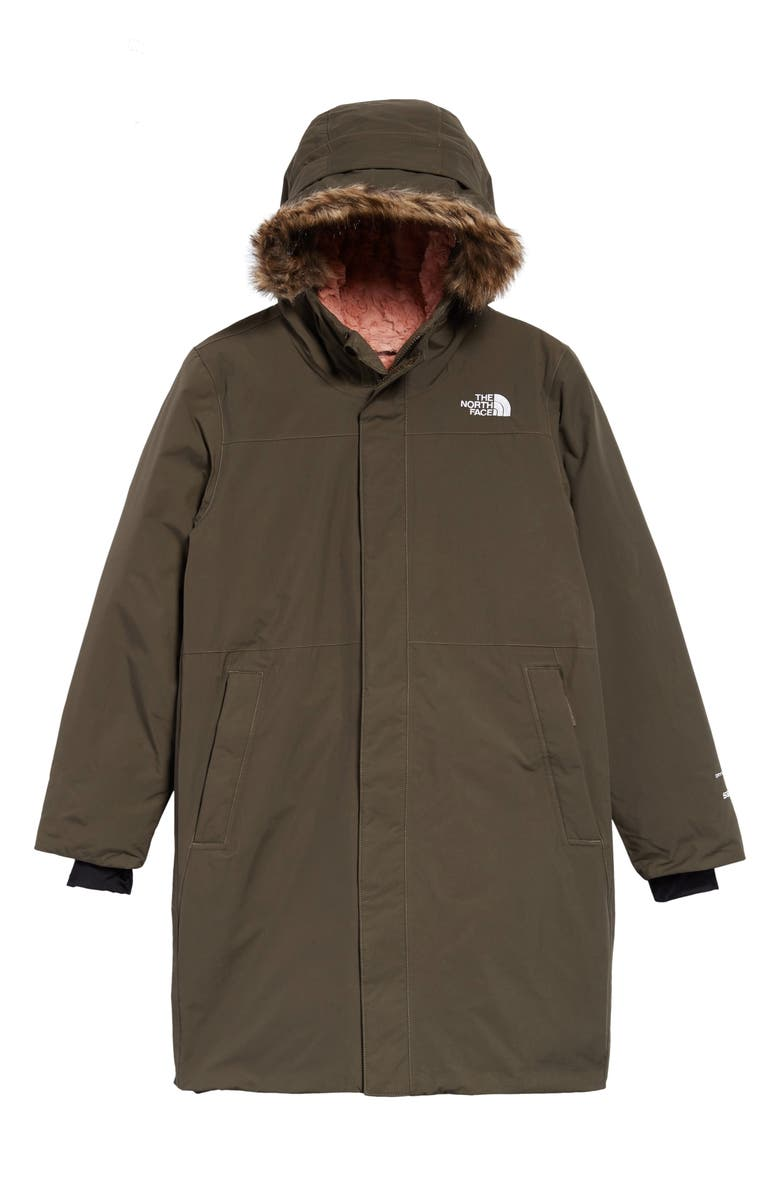 THE NORTH FACE Arctic Swirl Waterproof 550 Fill Power Down Parka, Main, color, NEW TAUPE GREEN