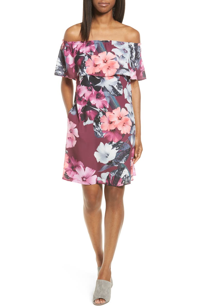 CECE Floral Off the Shoulder Shift Dress, Main, color, 543