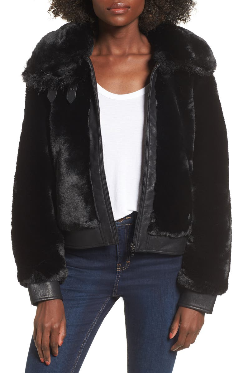 BLANKNYC Faux Fur Jacket, Main, color, 001