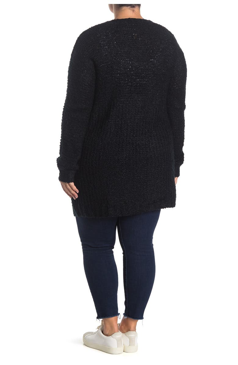 STITCHDROP Mixed Stitch Boucle Open Front Cardigan, Main, color, BLACK