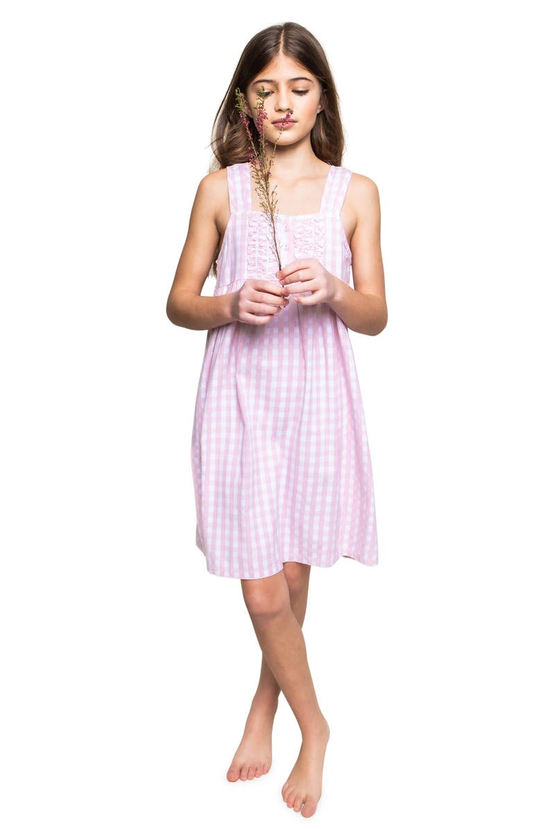 PETITE PLUME Kids' Gingham Nightgown, Main, color, PINK MULTI