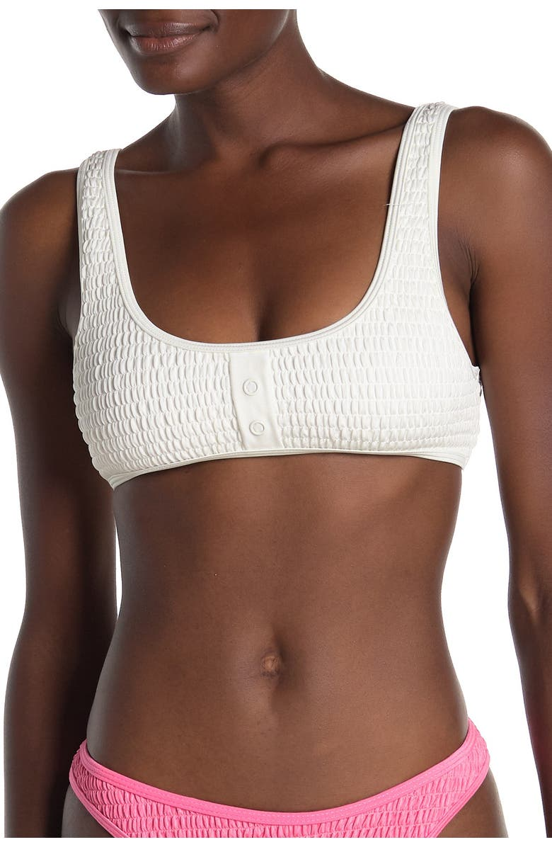 KENDALL AND KYLIE Henley Bikini Top, Main, color, WHITE