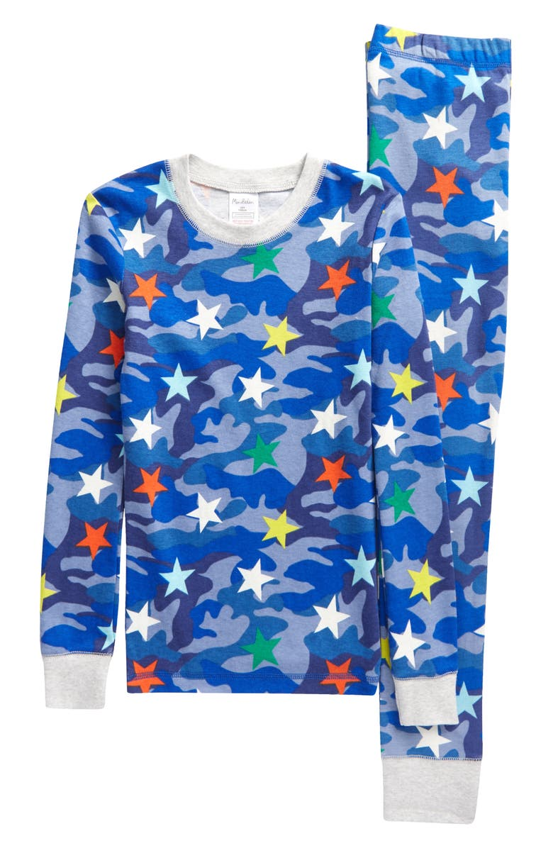 BODEN Mini Boden Kids' Glow in the Dark Fitted Two-Piece Pajamas, Main, color, BLUE CAMOUFLAGE RAINBOW STAR