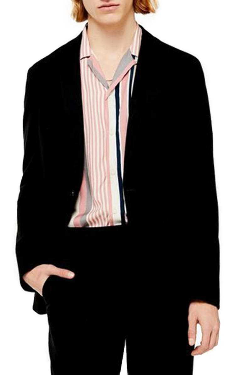 TOPMAN Slim Fit Solid Jersey Blazer, Main, color, 001