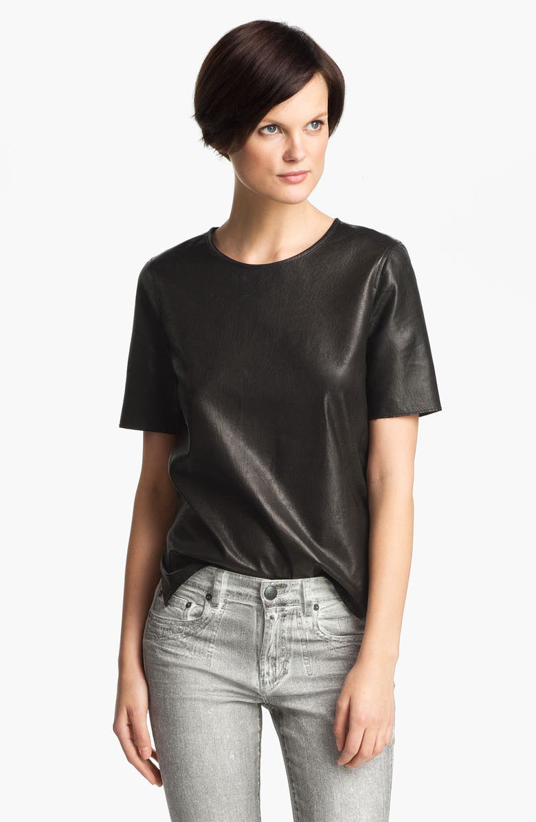 VINCE Leather Tee, Main, color, Black