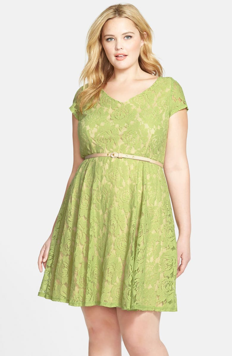 GABBY SKYE Belted Lace Fit & Flare Dress, Main, color, 300