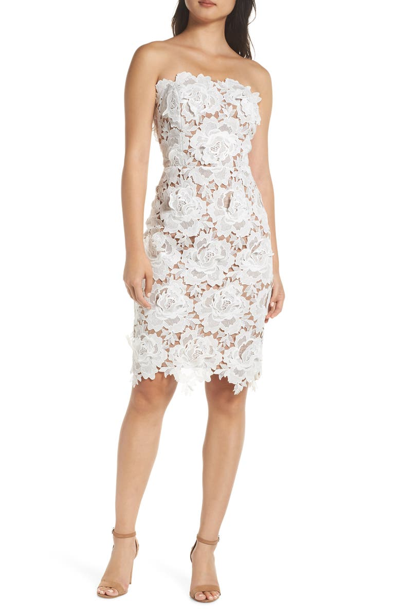 ADELYN RAE Jade Strapless Lace Dress, Main, color, 100