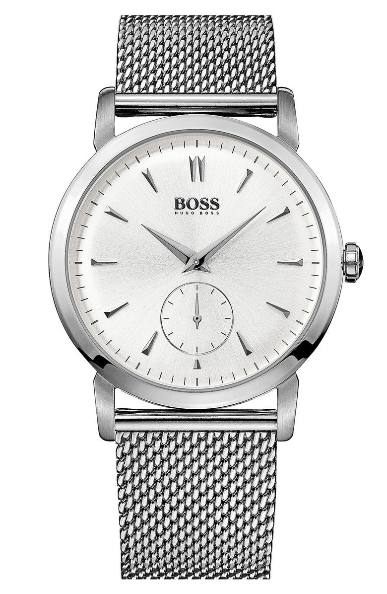 BOSS Round Mesh Strap Watch, 40mm, Main, color, Silver