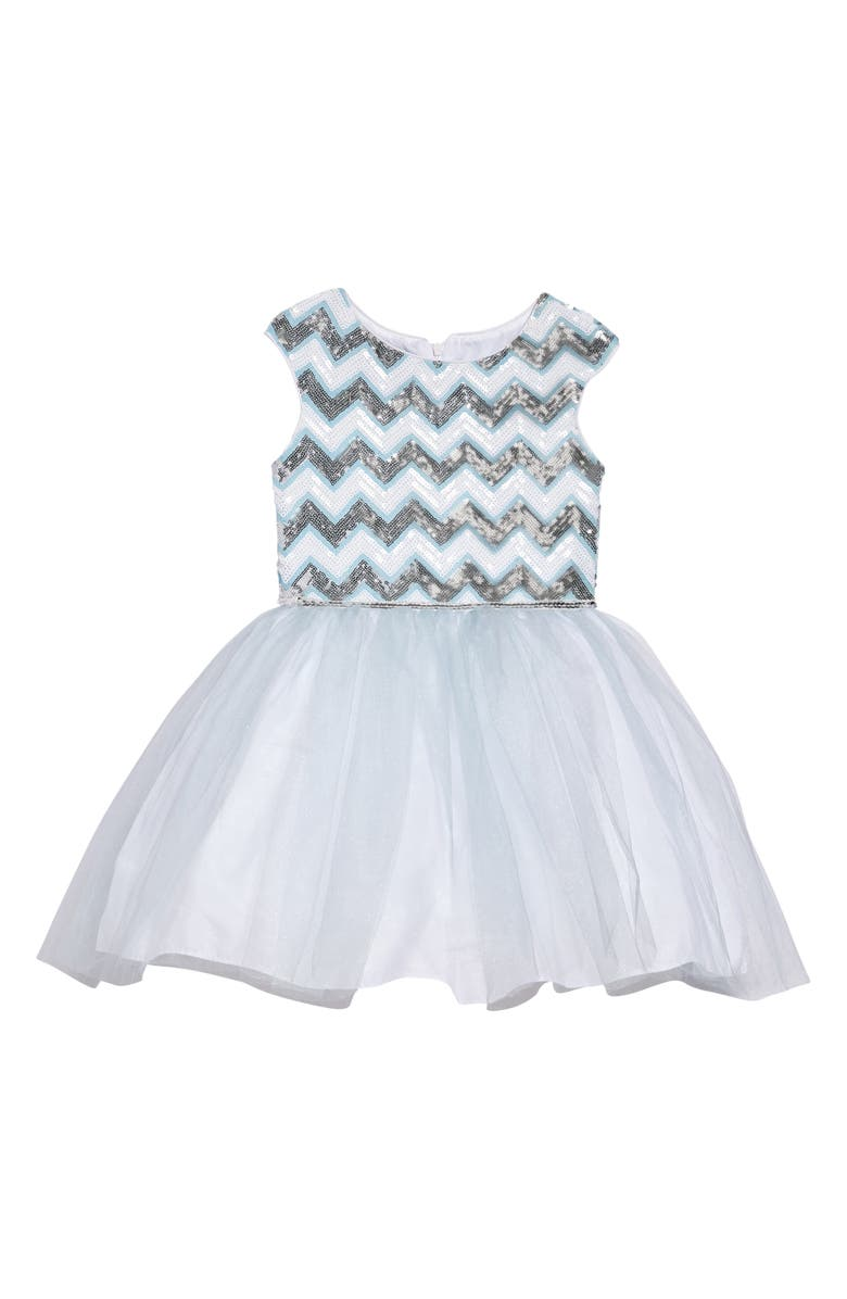 PIPPA & JULIE Chevron Sequin & Tulle Dress, Main, color, 400