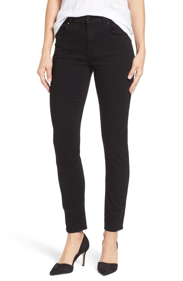 JEN7 Skinny Jeans, Main, color, RICHE TOUCH BLACK NOIR