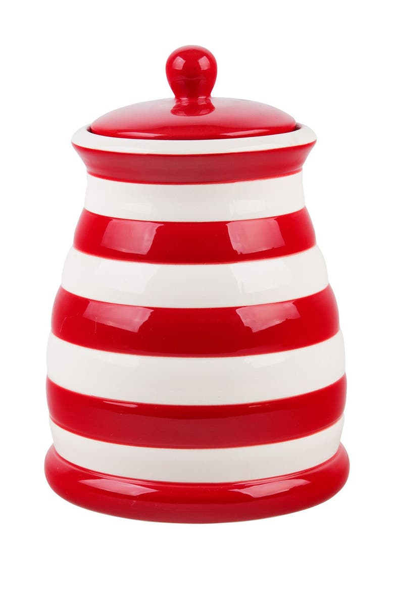 HOME ESSENTIALS AND BEYOND 55 oz. Medium Red/White Stripe Canister, Main, color, NONE