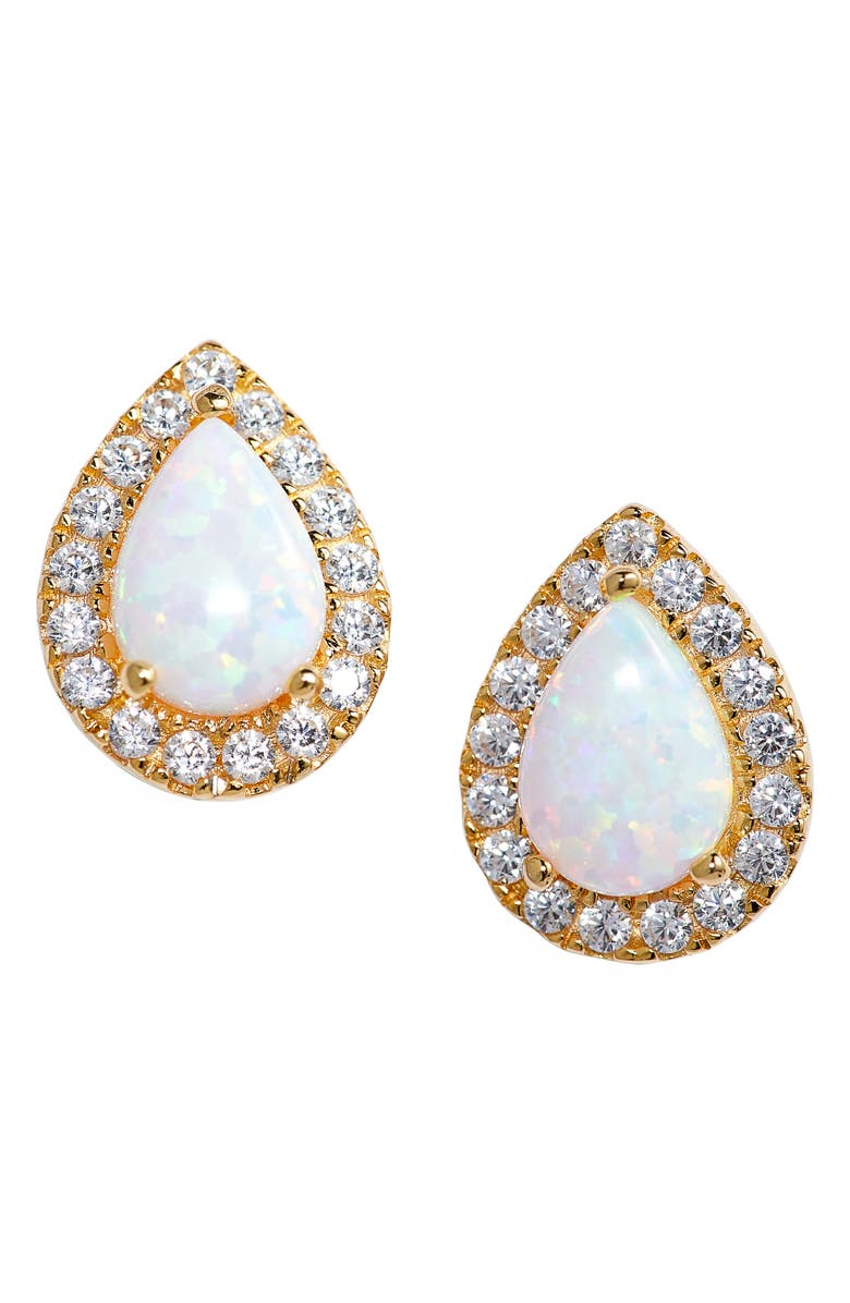 NORDSTROM Sterling Silver Pavé Halo Pear Stud Earrings, Main, color, CLEAR- WHITE- GOLD