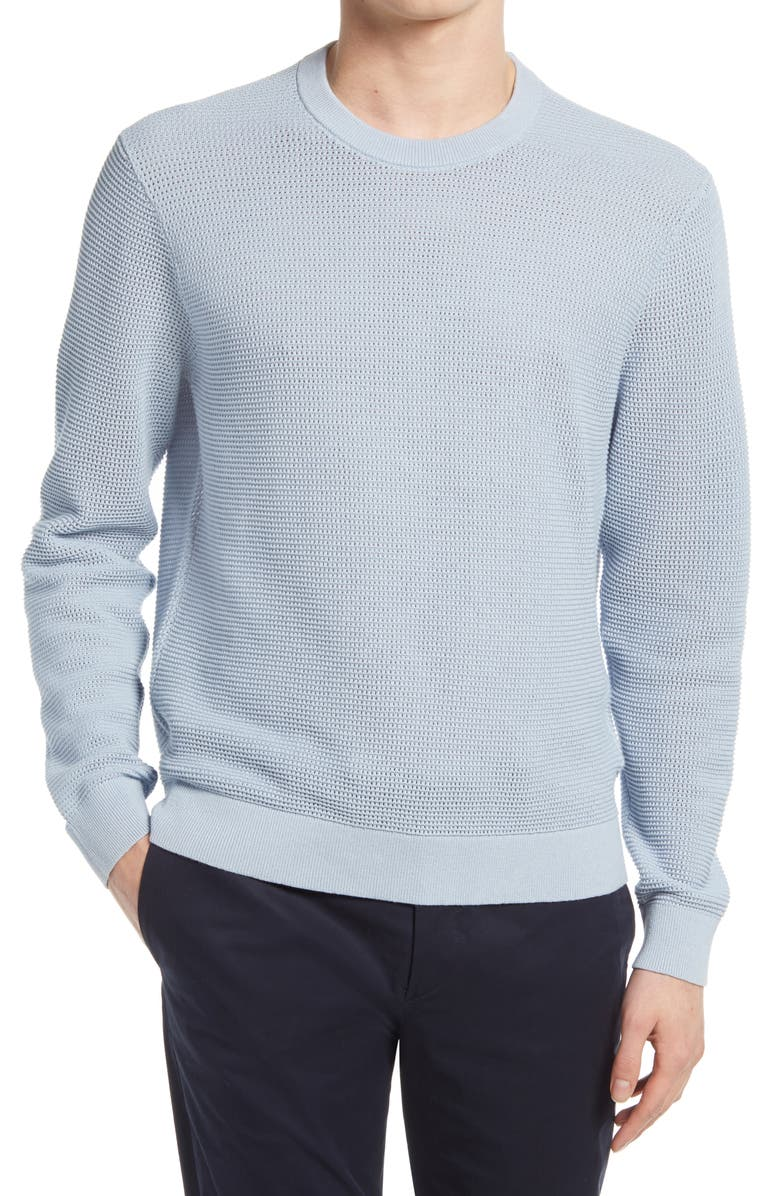 CLUB MONACO Cotton Mesh Sweater, Main, color, ZEN BLUE