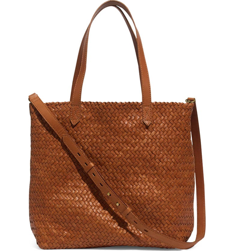 MADEWELL The Medium Transport Tote: Woven Leather Edition, Main, color, BURNISHED CARAMEL
