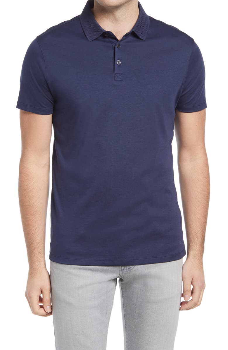 ROBERT BARAKETT Men's Georgia Pima Cotton Polo, Main, color, BLUE NIGHT